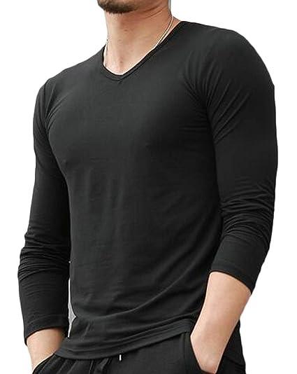 c4eb9db0051 Hajotrawa Men s V-Neck Pure Color Long Sleeve Casual Slim T-Shirt Top Black