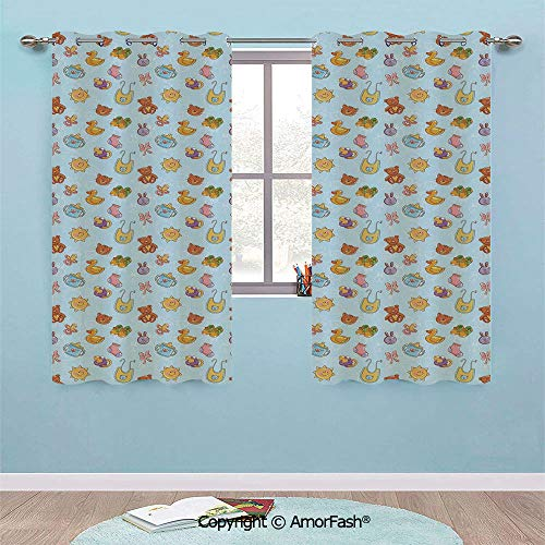 - PUTIEN Fashion Room Darkening and Thermal Insulating Window with Grommets Curtain,29x36-Inch, Baby Newborn Sun Teddy Bear Ribbon Feeder Pacifier Chick Kitty Cat Design Decorative