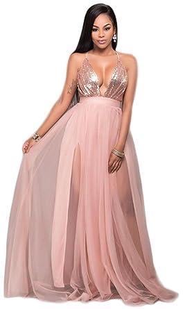Kearia Women Sexy Sequin Mesh Splice Deep V Neck Sleeveless Cocktail Long  Maxi Dress Pink Small 0489a08f1