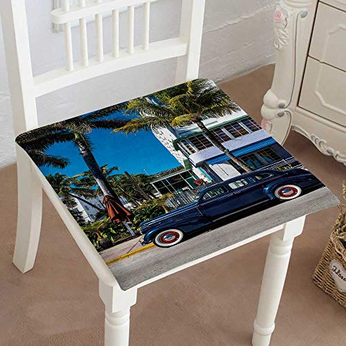 - Indoor/Outdoor All Weather Chair Pads Classic American Car on South Beach, Miami Seat Cushions Garden Patio Home Chair Cushions 32