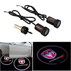Champled® For Dodge Laser Projector Logo Illuminated Emblem Under Door Step Courtesy Light Lighting Symbol Sign Badge Led Glow Car Auto Performance Tuning Accessory