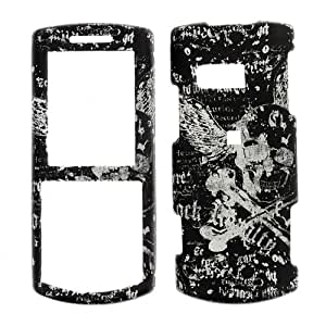 Samsung R560 Messager II/ Vice R561 - Skull with Wings on Black & White Rubberized Design Snap On Cover, Hard Plastic Case, Protector - Retail Packaged