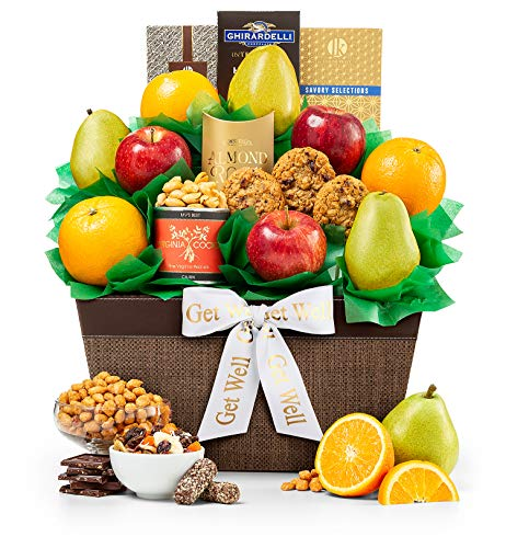 GiftTree Get Well Five Star Fruit Gift Basket | Fresh Fruit Includes Pears, Apples, Juicy Oranges | Almond Roca, Cranberry Oatmeal Cookies & More | Send Healing Thoughts