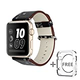 Solomo for Apple Watch Band 38MM, [Flower Series] Leather Fresh Pastoral Style Replacement iWatch Strap Women/Girls Wristband with Stainless Metal Clasp for Apple Watch Series 3, Series 2/1 (Black)