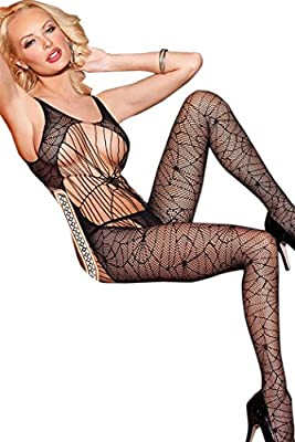 YeeATZ Black Spider Web Lace Strappy Bodystocking