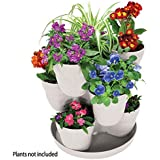Emsco Group EMSCO Bloomers Stackable Flower Tower Planter – Holds up to 9 Plants – Great Both Indoors and Outdoors – White