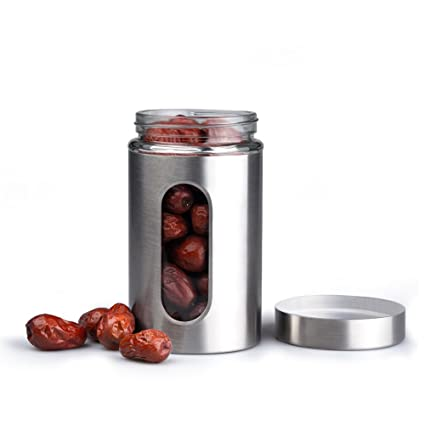 JABORN Stainless Steel Canister Set With Window Glass Kitchen Canister With  Airtight Lid Food Storage Canisters