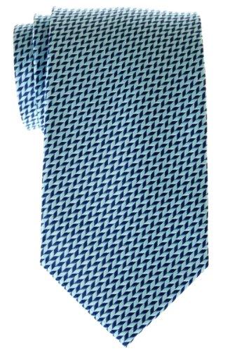 Retreez Herringbone Chevrons Stripe Woven Microfiber Men's Tie - Blue