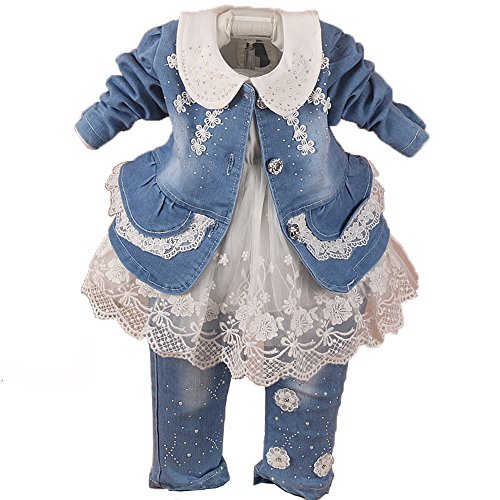 YAO Spring Autumn Little Girls Baby Girls 3 Pieces Denim Clothing Set Long Sleeve Lace Dress Floral Denim Jacket Coat and Jeans (6-12Months, White) ()