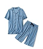 Men's Cotton Woven Short Pajama Set Sleepwear (Blue Plaid, X-Large)
