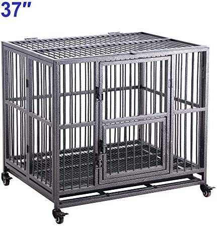 Meihua Heavy Duty Dog Cage Crate for Indoor Outdoor, Easy to Assemble Pet Playpen with Four Wheels, Lockable Wheels, Removable Tray