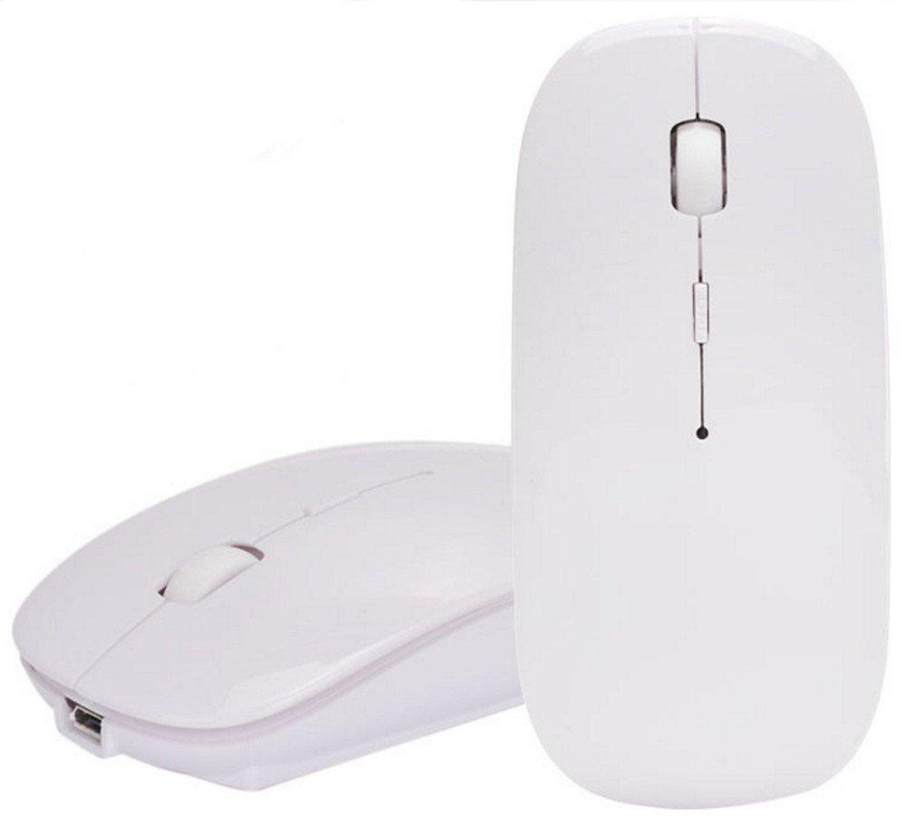 Bluetoothマウス、dinowin 3.0ポータブルマウス充電式ワイヤレスUSBマウスサイレントfor Bluetooth互換ノートPC、Mac、iMac、Macbook Androidタブレット、PC調整可能なDPI 1000 / 1400 / 1600 ホワイト B075B4YYND 27238 ホワイト ホワイト