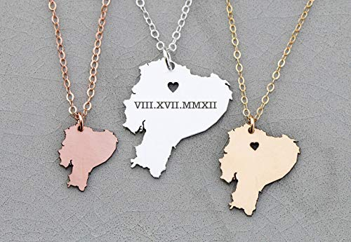 - Ecuador Necklace - IBD - Personalize with Name or Coordinates – Choose Chain Length – Pendant Size Options - Ships in 1 Business Day - 935 Sterling Silver 14K Rose Gold Filled Charm