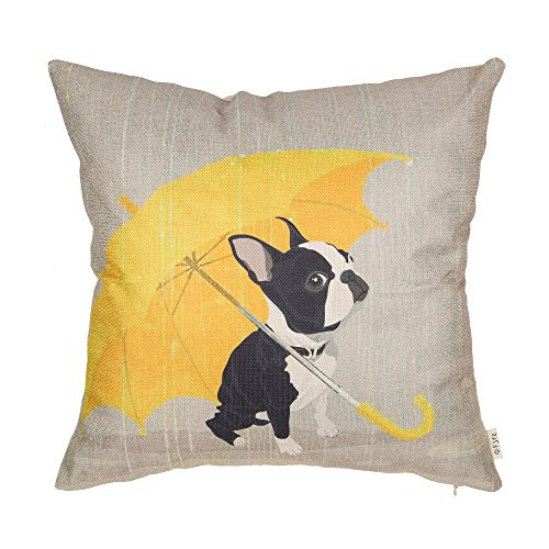 Fjfz Boston Terrier with Yellow Umbrella Dog Lover Decor Gift Cut Funny Decoration Cotton Linen Home Decorative Throw Pillow Case Cushion Cover for Sofa Couch, 18