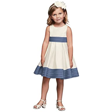 043404b9aa0 Amazon.com  David s Bridal Satin Flower Girl Communion Dress with Pleated  Waist and Hem Style WG1372  Clothing