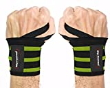"Wrist Wraps by Rip Toned - 18"" Professional Grade With Thumb Loops - Wrist Support Braces for Men & Women - Weight Lifting, Crossfit, Powerlifting, Strength Training - Bonus Ebook (Green Stiff)"