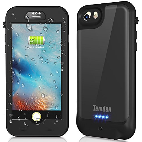 iPhone 7/6s/6 Waterproof Battery Case, Temdan 3000mAh Portable External Charging Case for iPhone 7/6s/6 (4.7inch) Extended Battery Juice Pack / 150% Extra Battery (Black)