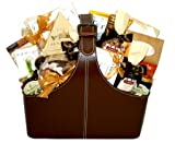Gourmet Executive Leather Tote - Corporate Gift Basket