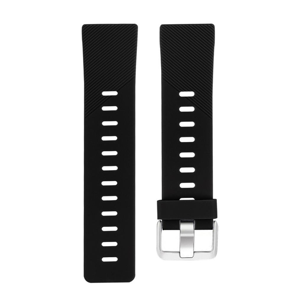 Lovewe Replacement Fashion Sports Twill Silicone Bracelet Strap Band For Fitbit Versa 228mm (Black)