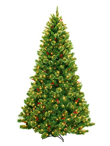 Best Artificial Christmas Tree With Pine Cones and Red Berries, 7 Foot 1120 Tips Clear Lights (Artificial Trees Christmas)