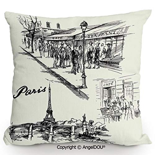AngelDOU Fashion Sofa Cotton Linen Throw Pillow Cushion,Paris Sketch Style Cafe Restaurant Landmark Canal Boat Streetlamp Retro Art Print,Bed Office car Pillow Customized Accept.15.7x15.7 inches