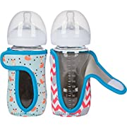 8 oz (Set of 2 pcs) Miracle Bean Neoprene Baby Bottle Sleeves – Adjustable Sleeves. Glass Bottles – Improved Heat/Cold Retention – Moisture Wicking, Non-Slip Grip – Fox and Elephant Designs
