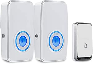 【No Battery Required】 Wireless Doorbell Waterproof, AURTEC Door Chime Kit with 2 Plug-in LED Flash Receivers & 1 Press Self-Powered Transmitter, 51 Chimes, 4 Volume Levels, White