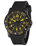 SHARK ARMY Military Men's Sport Quartz Fashion Black Rubber Band Wrist Watch Yellow SAW075