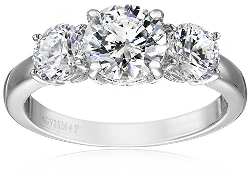 Platinum-Plated Sterling Silver Round 3-Stone Ring made with Swarovski Zirconia (2 cttw), Size 8