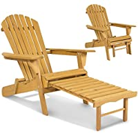 Wooden Adirondack Chair w/ Pull Out Ottoman