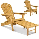 Deck Chairs Best Choice Products SKY2254 Outdoor Patio Deck Garden Foldable Adirondack Wood Chair with Pull Out Ottoman