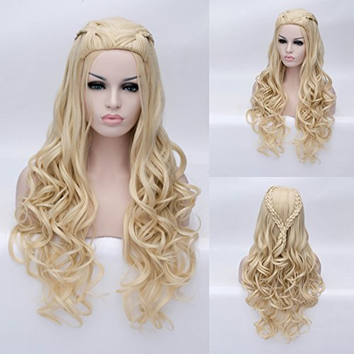 Daenerys Targarye Cosplay Wig Braided Blonde Long Curly Synthetic Hair (Curly Blonde Costume Wig)