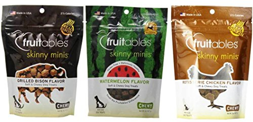 Fruitables Skinny Minis Gluten Free Soft & Chewy Dog Treats 3 Flavor Variety Bundle: (1) Fruitables Skinny Minis Grilled Bison Flavor, (1) Fruitables Skinny Minis Watermelon Flavor, and (1) Fruitables Skinny Minis Rotisserie Chicken Flavor, 5 Oz. Ea. (3 Bags Total)