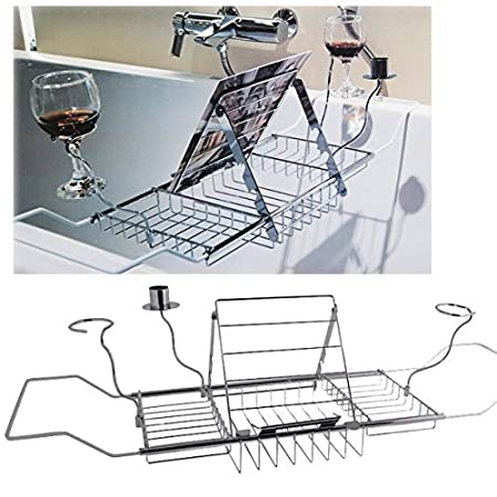 BATHTUB RACK BATH CADDY EXTENSION WINE GLASS HOLDER IPAD MAGAZINE ...