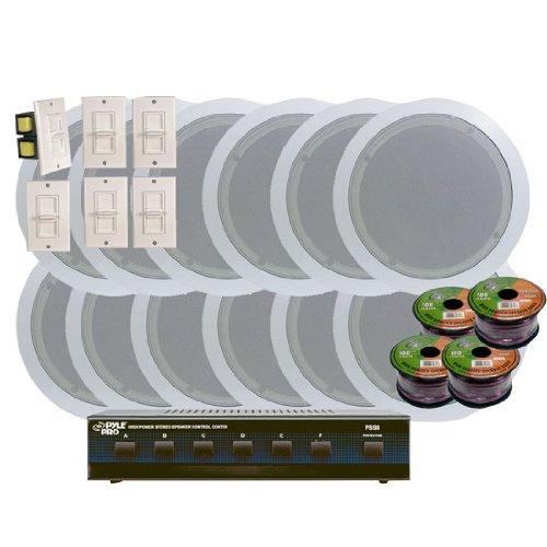 -Ceiling 6'' Home Speaker System w/6 Volume Controls Knob & Selector (Slide Volume Control Knob)