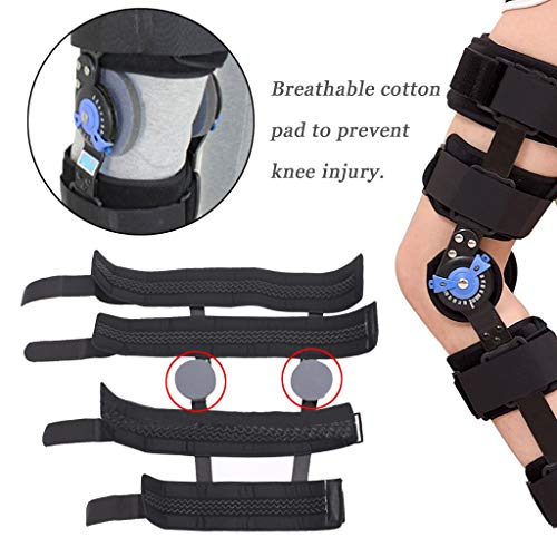 Fine Knee Brace with Strap, Adjustable Leg Stabilizer Post OP Recovery Immobilization Splint - Medical Orthopedic Guard Protector Patella Injury Immobilizer Brace (Black, S)