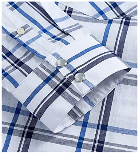 Western Shirts for Men with Snap Buttons Regular Fit Plaid Mens Long Sleeve Shirts Casual,White Blue 002, Large
