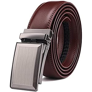 Bulliant Men Belt, Genuine Leather Ratchet Click Belt for Men, Trim to Fit