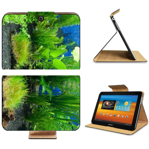 Fish Tank Tropical Green Blue Samsung Galaxy Tab 3 10.1 Flip Case Stand Magnetic Cover Open Ports Customized Made to Order Support Ready Premium Deluxe Pu Leather 9 7/8 Inch (250mm) X 7 1/4 Inch (183mm) X 11/16 Inch (17mm) MSD Galaxy Tab3 Cases Tab_10.1 three Accessories Graphic Background Covers Designed Model Folio Sleeve HD Template Designed Wallpaper Photo Jacket Wifi 16gb 32gb 64gb Luxury Protector