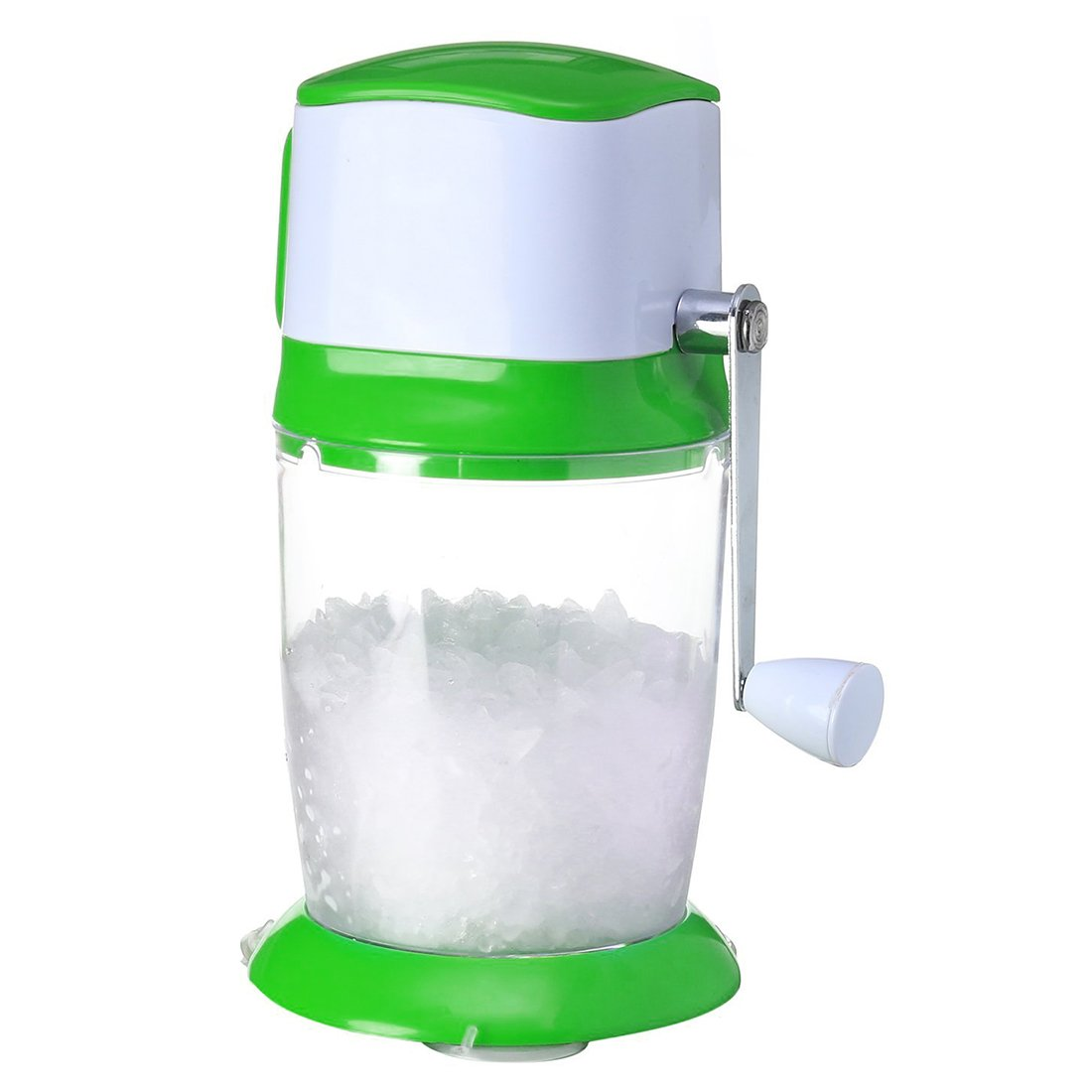 [UPGRADED] Ice Crusher Shaver Manual Hand Crank Ice Grinder for Fine or Coarse Pieces - Ice Treats or Slushy Desserts Large 50 OZ Bucket Shaved Ice Treats or Slushy Desserts 304 Stainless Steel Blade GROWNEER icecrusher