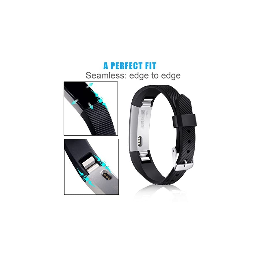 Konikit Band Compatible Fitbit Alta HR/Alta Straps, Soft Adjustable Replacement Band Accessory with Secure Watch Clasps, Pack of 3