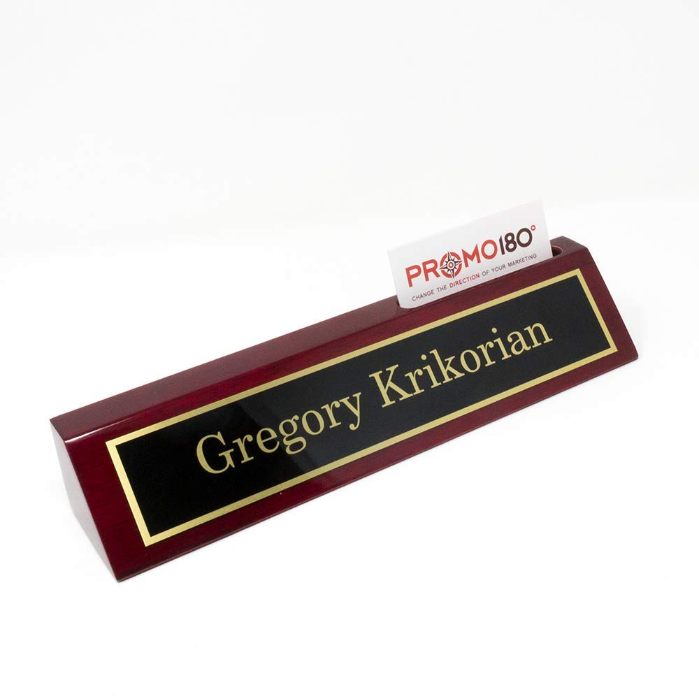 Desk Name Plates | Free Engraving | Custom Name Plates | Multiple Sizes Available (2'' x 8'' w/Card Slot)
