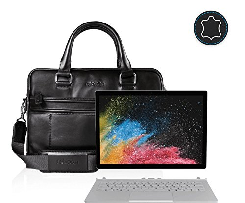 reboon Echt-Leder Laptop-Tasche in Schwarz Leder für MICROSOFT Surface Book 2 13 5 | 13 Zoll | Notebooktasche Umhängetasche | Damen/Herren - Unisex | Premium Qualität Schwarz Leder 8Txq6fvd