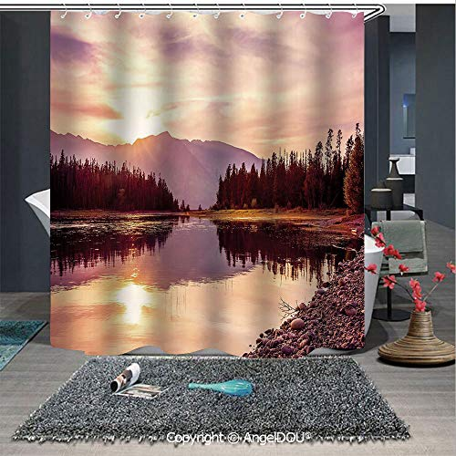 AngelDOU Landscape Printed Fabric Shower Curtain Grand Teton Mountain Range at Sunset Jackson Lake Calm National Park USA Decorat Home Decorations for Bathroom