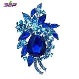 Flower Wedding Bouquet Brooch Women Crystals Jewelry Leaf Broaches Pins Birthday Gifts 4997 (BLUE)
