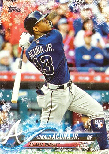 Juniors Snowflake - 2018 Topps Holiday Snowflake #HMW50 Ronald Acuna Jr. Baseball Rookie Card