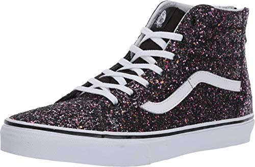 Vans Kids Girl's Sk8-Hi Zip (Little Kid/Big Kid) (Glitter Stars) Black/True White 1.5 M US Little Kid