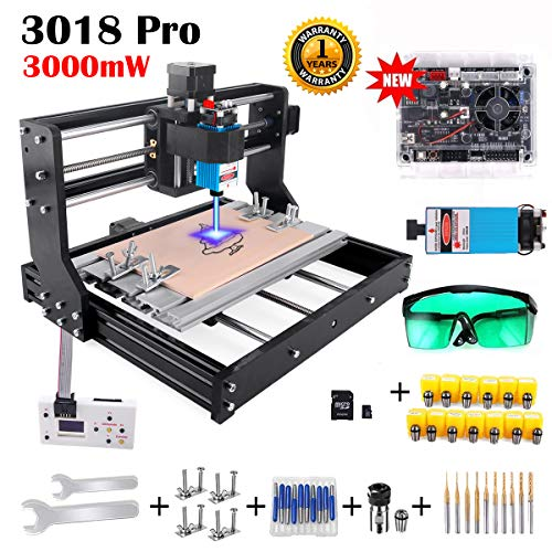 3000mW Laser Engraver CNC 3018 Pro GRBL Control Engraving Machine, 3 Axis PCB Milling Carving Machine CNC Router Kit with Offline Controller (3000mW)