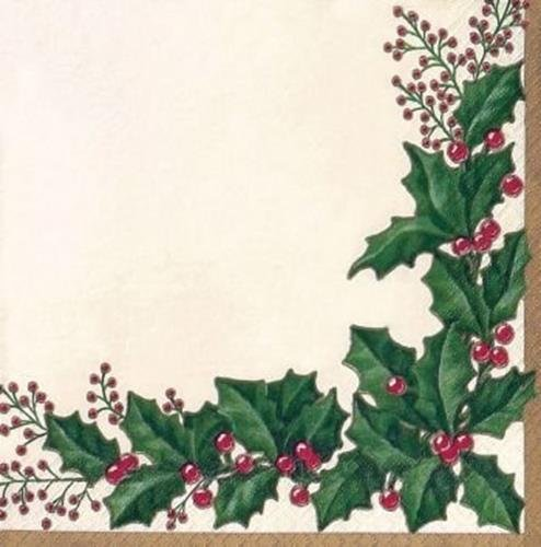 Creative Converting 54568 36 Count Winter Holly Paper Beverage Napkins
