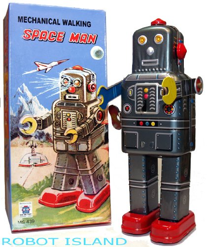Mechanical Spaceman Robot Windup Tin Toy with (Spaceman Tin Robot)